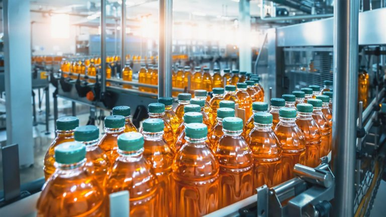Conveyor moving bottles in a plant