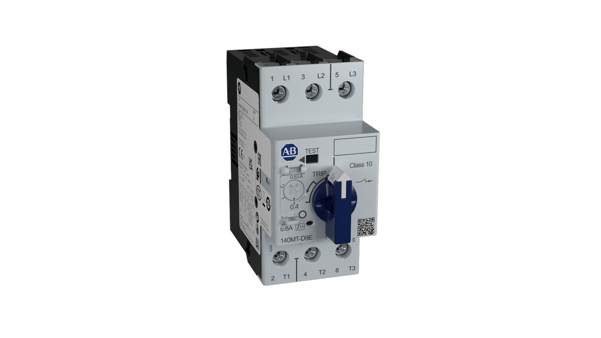 Protecteurs de circuit moteur série140MT-D9N comportant un bouton cadenassable, un commutateur de test de déclenchement et un voyant de déclenchement.