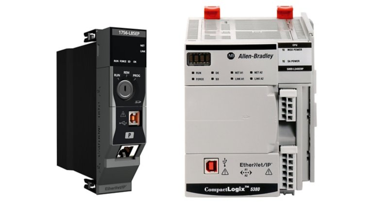 Two process controllers. 1756-L85EP EtherNet/IP process controller on the left. CompactLogix 5380 EtherNet/IP process controller on the right.