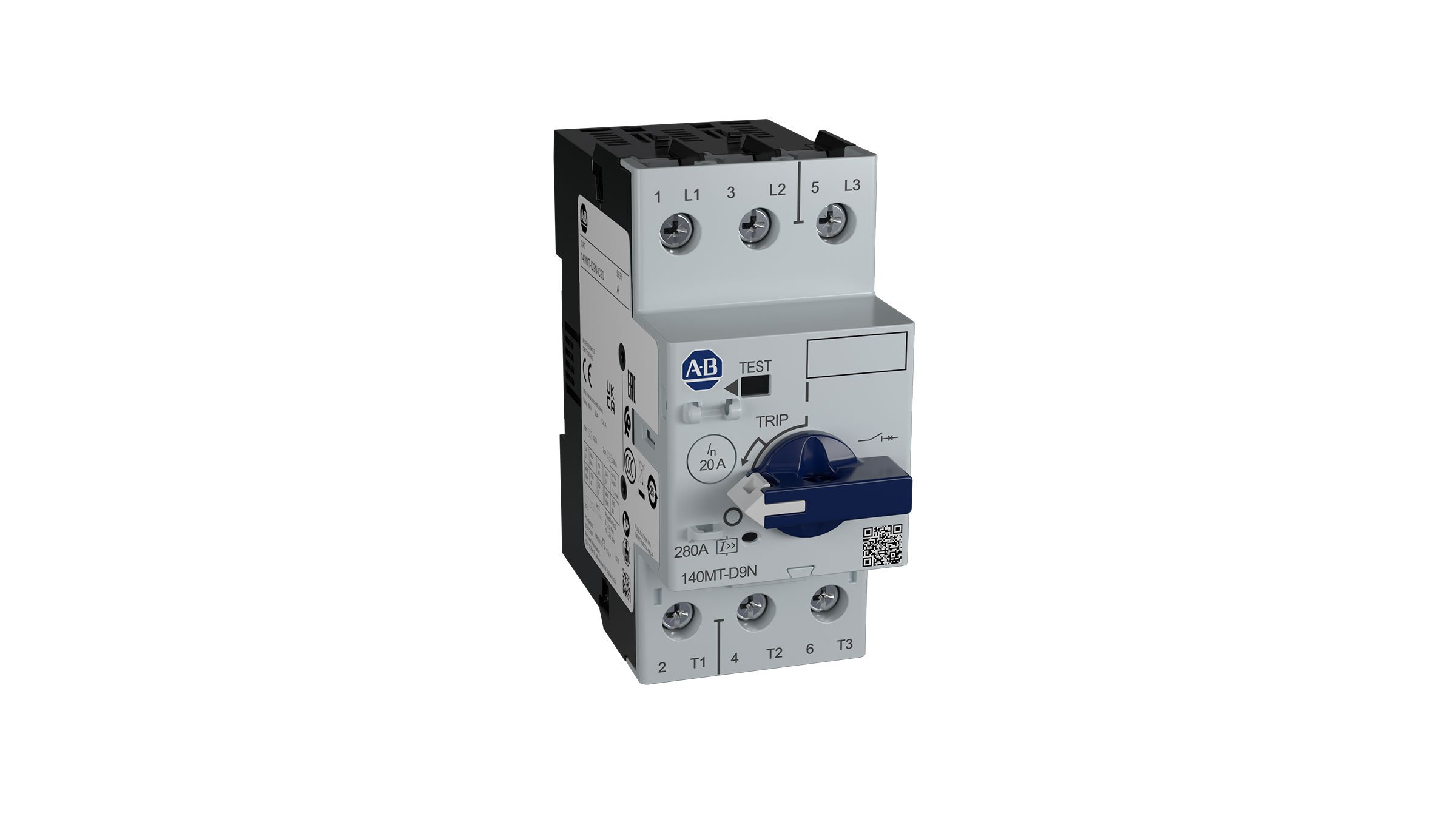 Bulletin 140MT-D9N Motor Circuit Protector showing lockable knob, trip test switch and trip indicator.