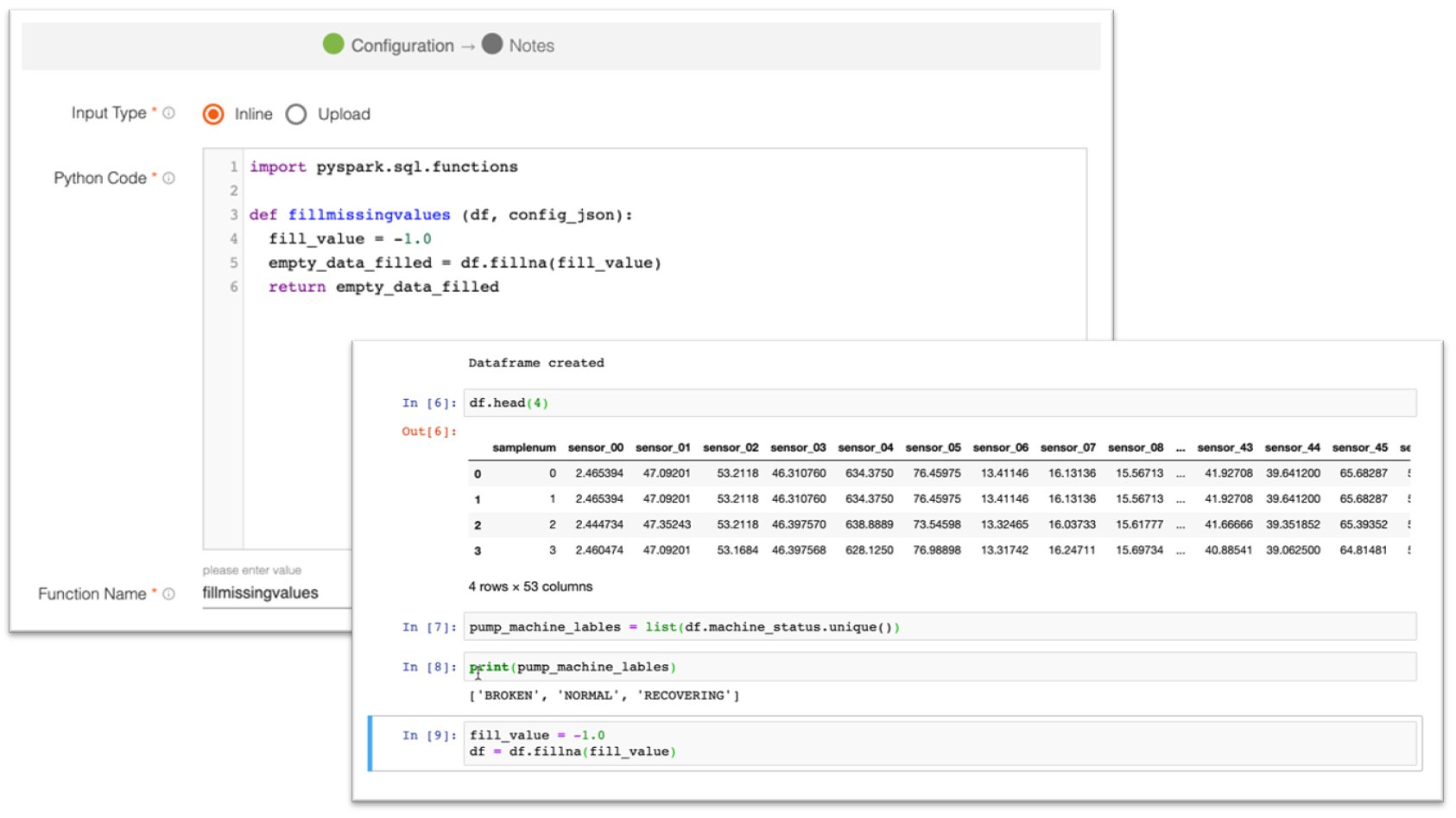 Screen captures from FactoryTalk DataFlowML software that shows programming code being used in Python and Jupyter platforms