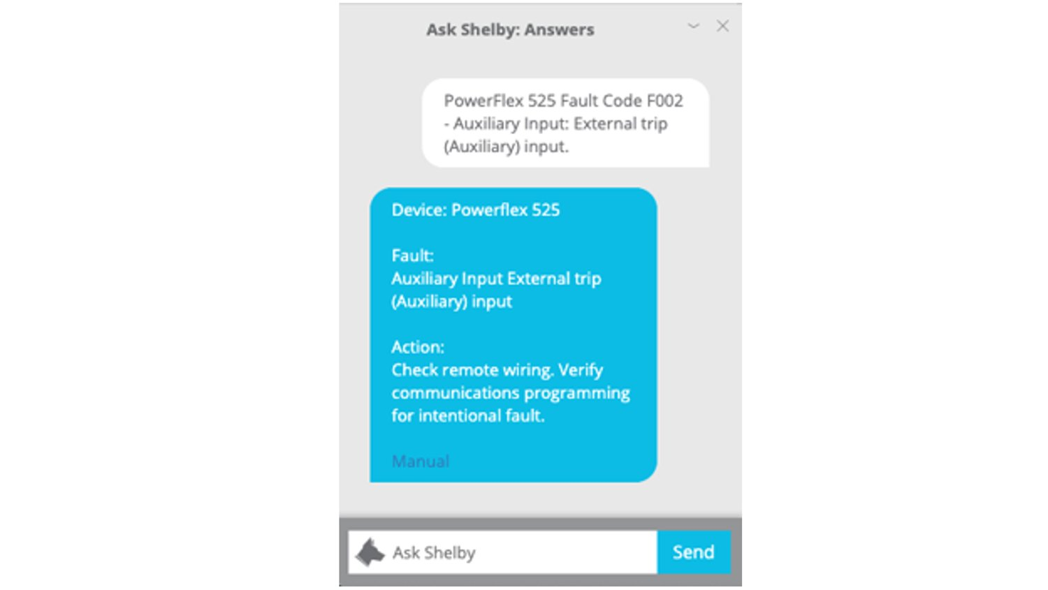 Screen image from mobile device showing chat message with the FactoryTalk Analytics for Devices chatbot about an equipment fault code