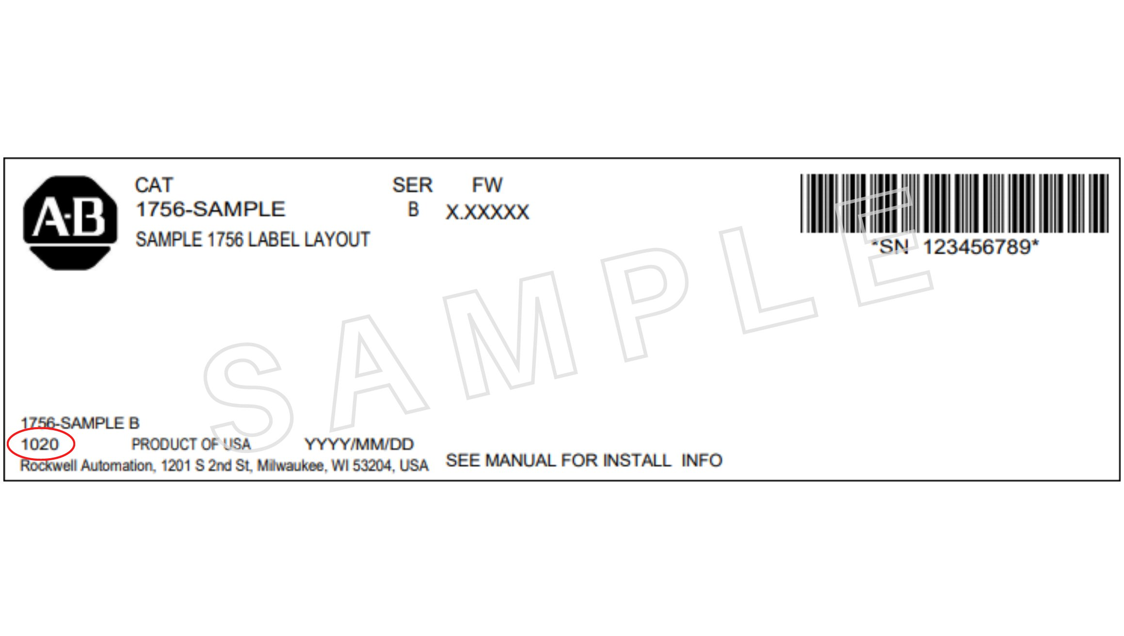 Rockwell Automation sample label