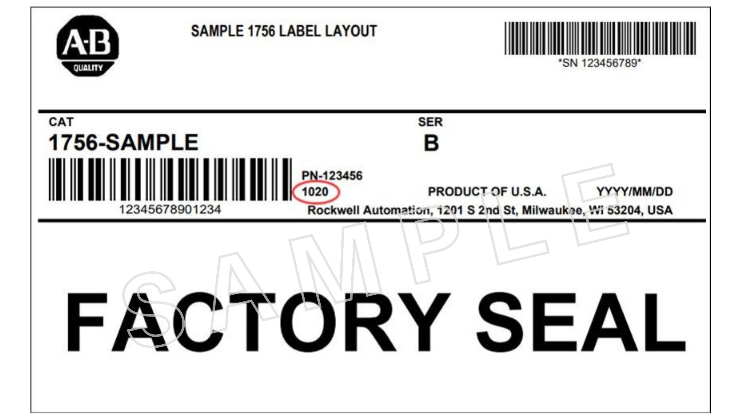 Sample of a Factory Seal for packaging