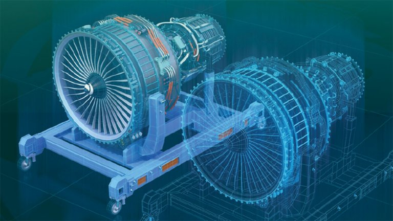 An engine and a virtual model of that engine built to illustrate machine learning and interaction with digital models