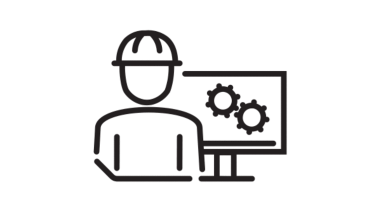 icon of person at computer with hard hat