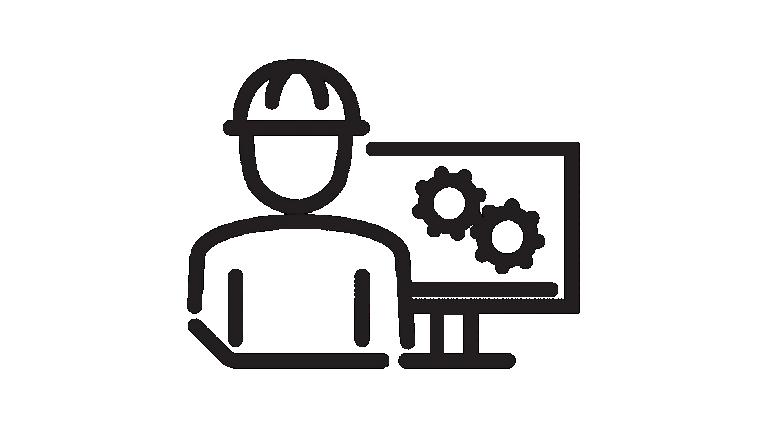 Symbol einer Person am Computer mit Schutzhelm