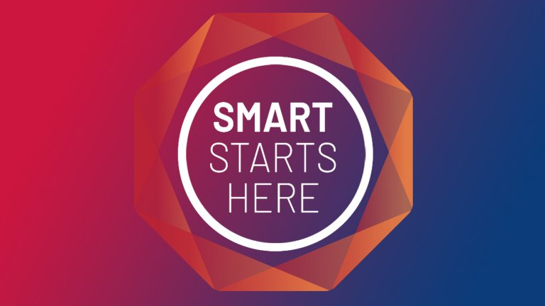 Smart Starts Here logo placed on vertical gradient red and blue background