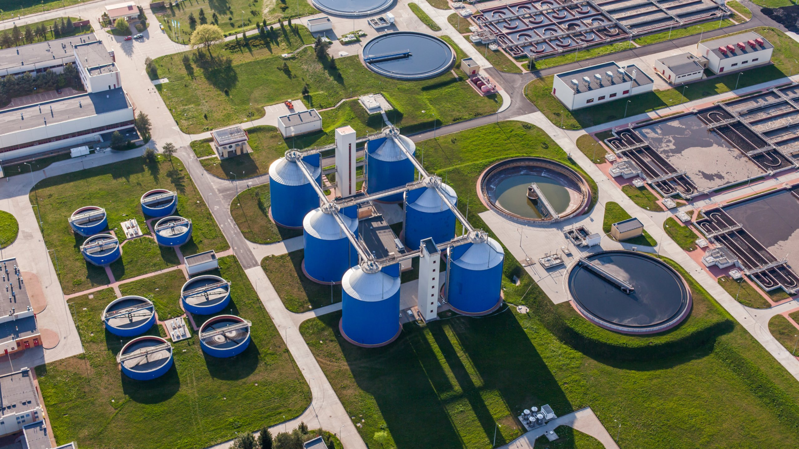 Aerial view of water wastewater plant