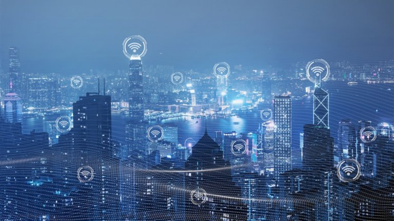 Cityscape with cybersecurity icons indicating secure networks