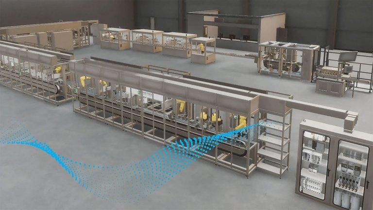An interactive demonstration of a factory floor and different automation lifecycle services provided