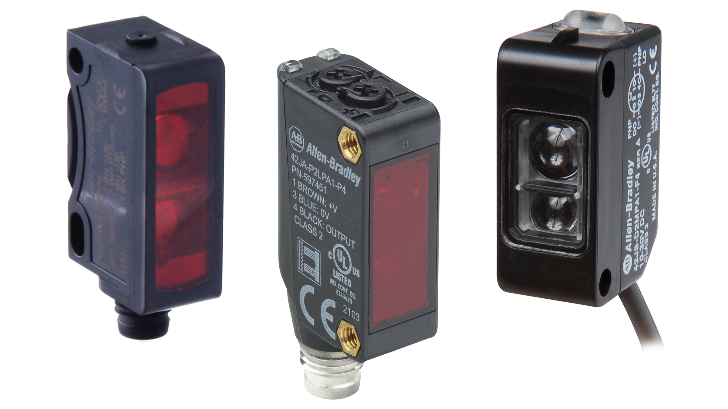 A collage of the three VisiSight Sensors. Left to right the 42JT, the 42 JA and the 42JS. All  small black photoelectric sensors.