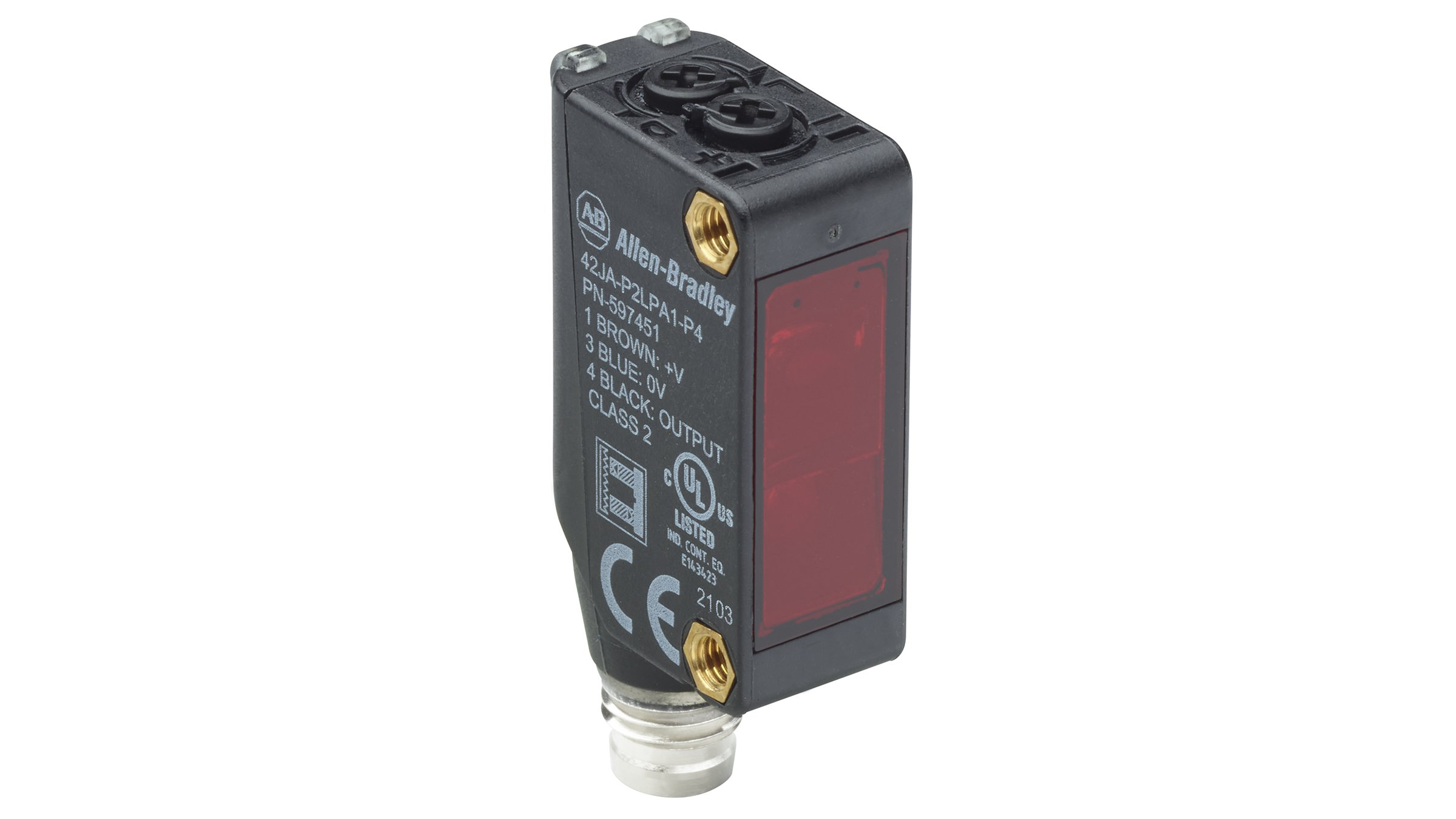Static view of a black 42JA VisiSight sensor with red lens, indicator LEDs, adjustment knobs on top and integrated quick cable connector coming out of the bottom.