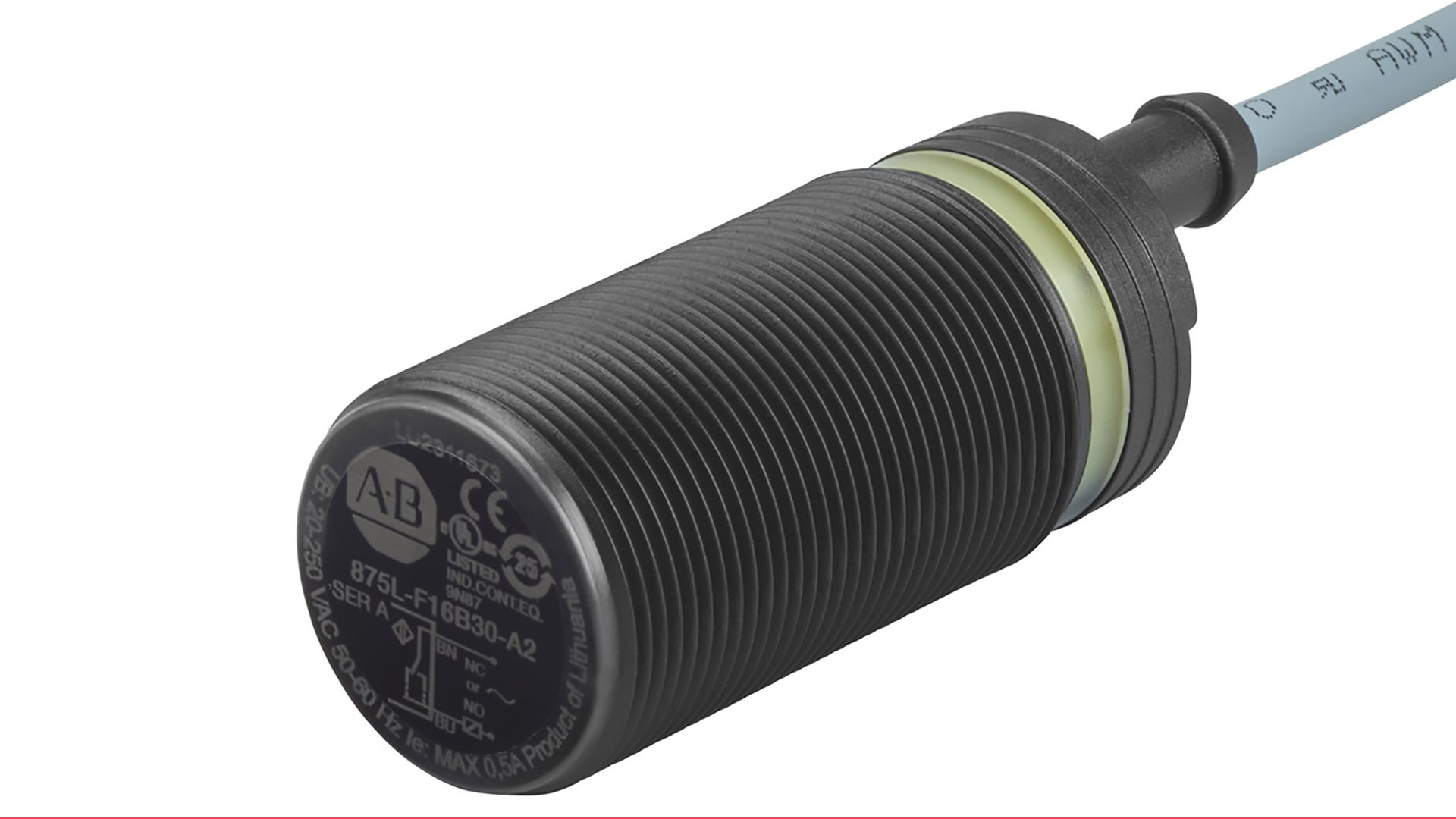 Black Cylindrical Capacitive Sensor with 30 mm Barrel Diameter, 2 m PVC Cable