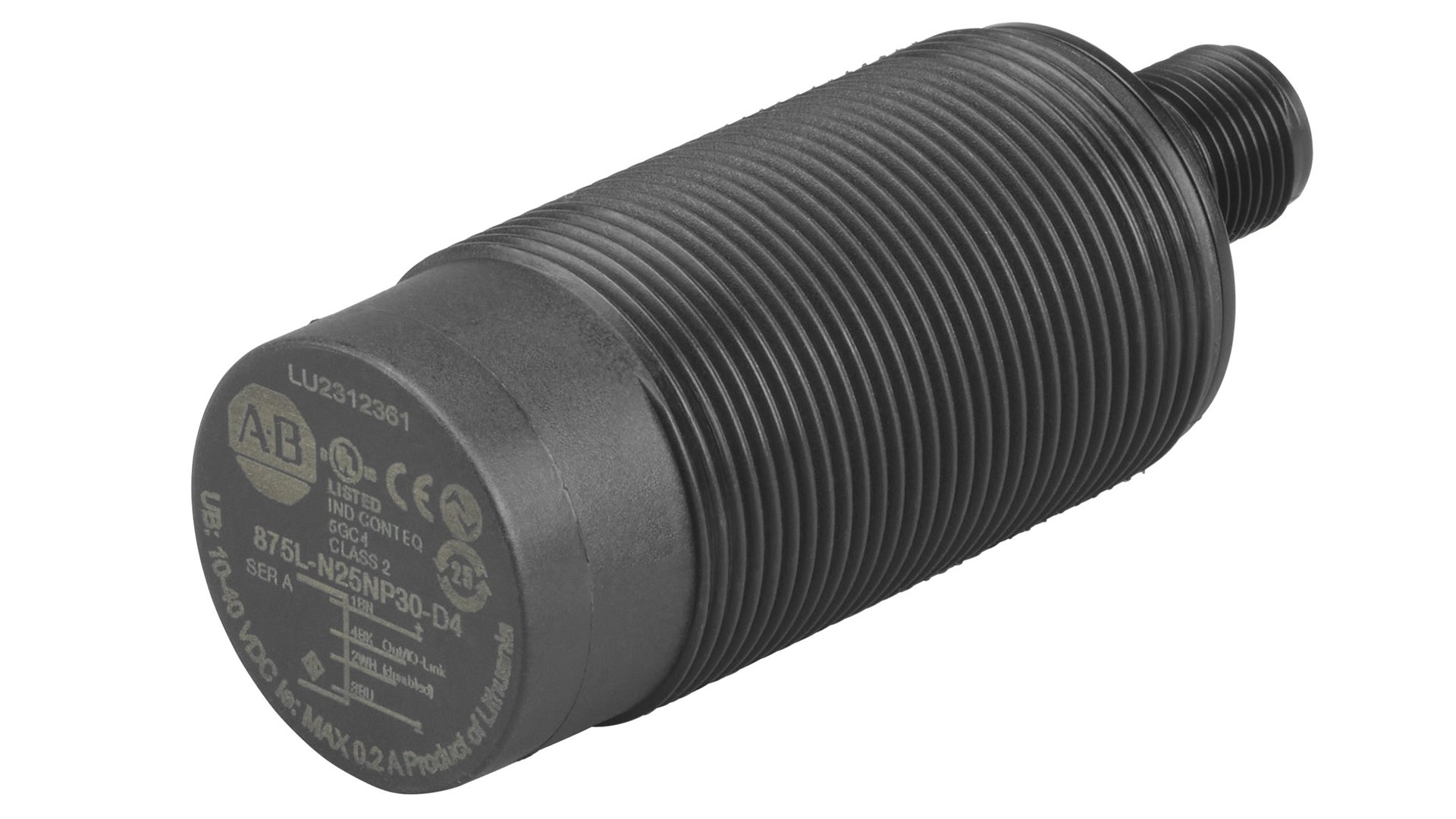 Black Cylindrical Capacitive Sensor with 30 mm Barrel Diameter, DC Micro Quick Disconnect ,IO-Link Version