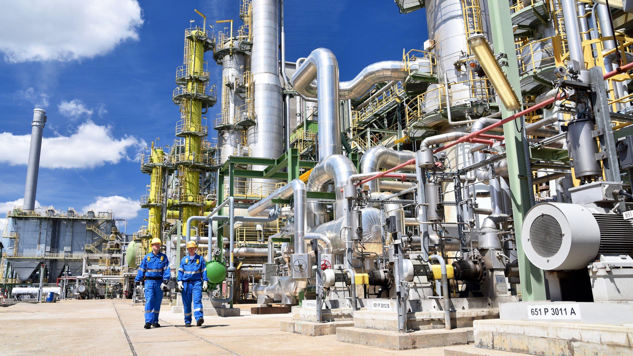 Foto de la planta de productos químicos externa