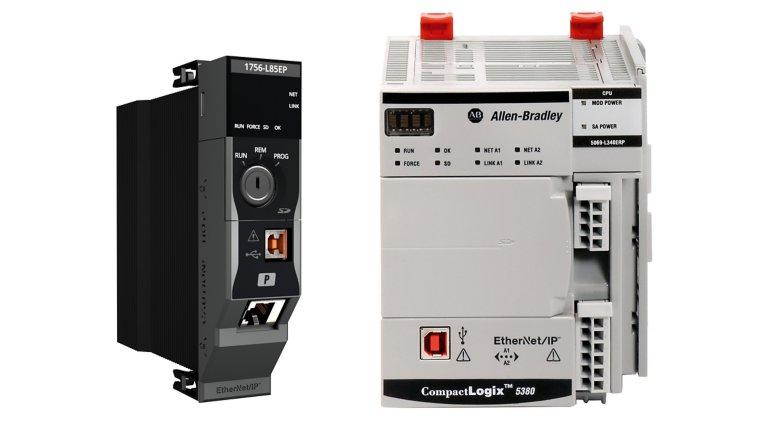 첫 번째 이미지는 오른쪽 방향의 ControlLogix 5580 컨트롤러입니다. 왼쪽과 정면은 육안 범위에 있습니다. 두 번째 이미지는 정면 방향의 CompactLogix 5380 컨트롤러입니다.