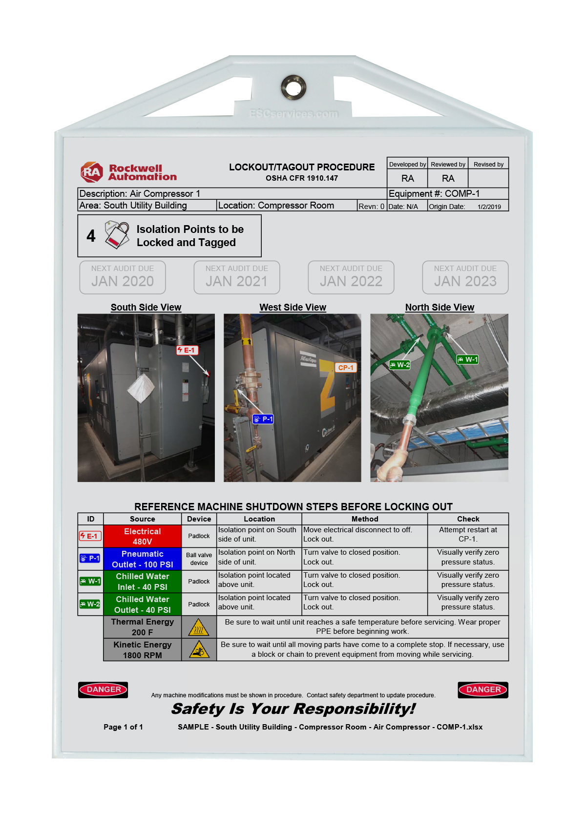 Graphical lockout/tagout procedures document