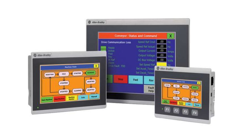 A lineup of three units of PanelView 800 graphic terminals in landscape mode against a white background. From left to right, we see a 7-inch terminal, 10-inch terminal and 4-inch terminal