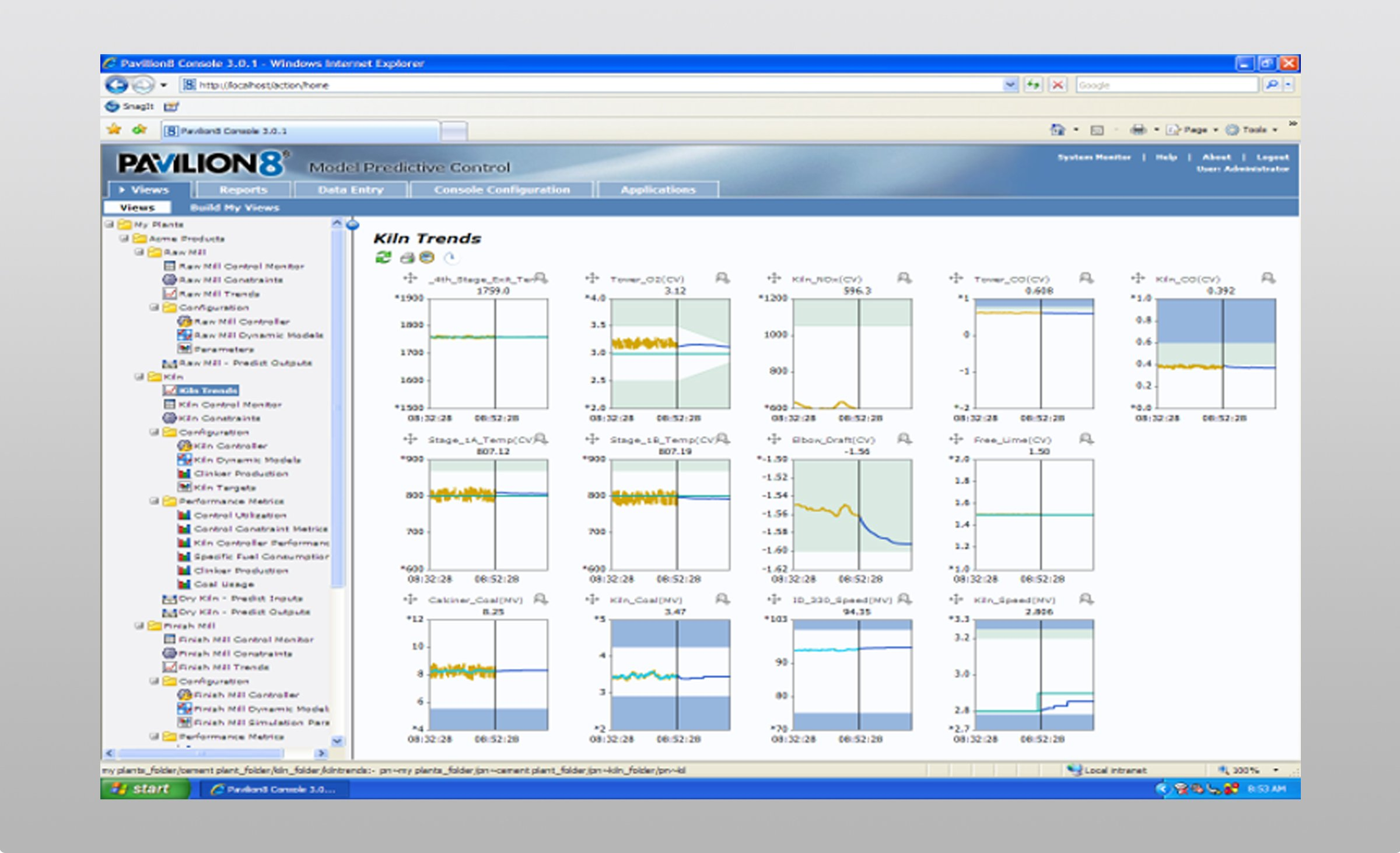 Laptop computer screen showing Rockwell Automation Pavillion8 software dashboard