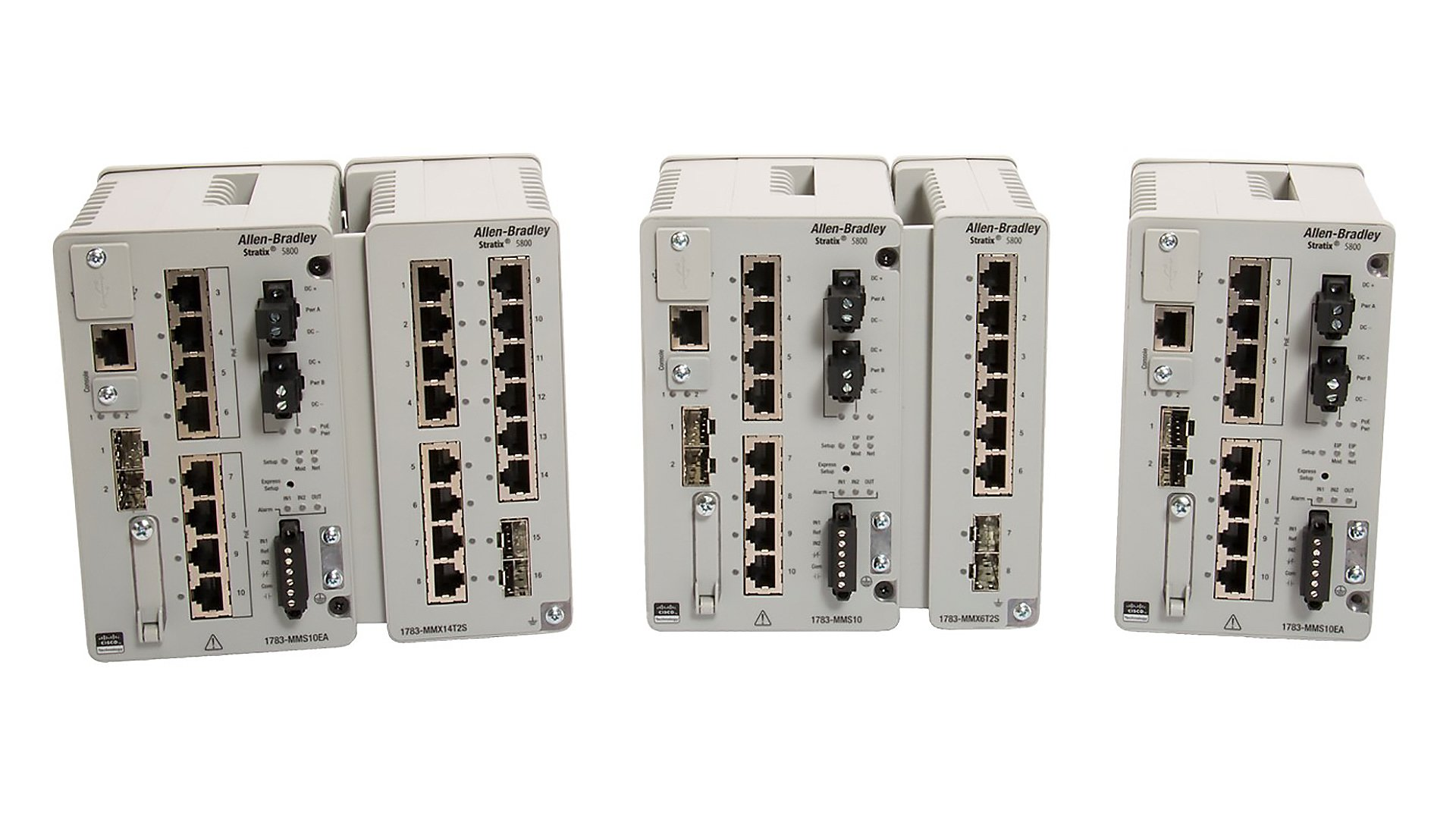 Shows front view of Stratix 5800 switch with expansion module attached for first and second image. The third image shows front view of Stratix 5800 switch separately