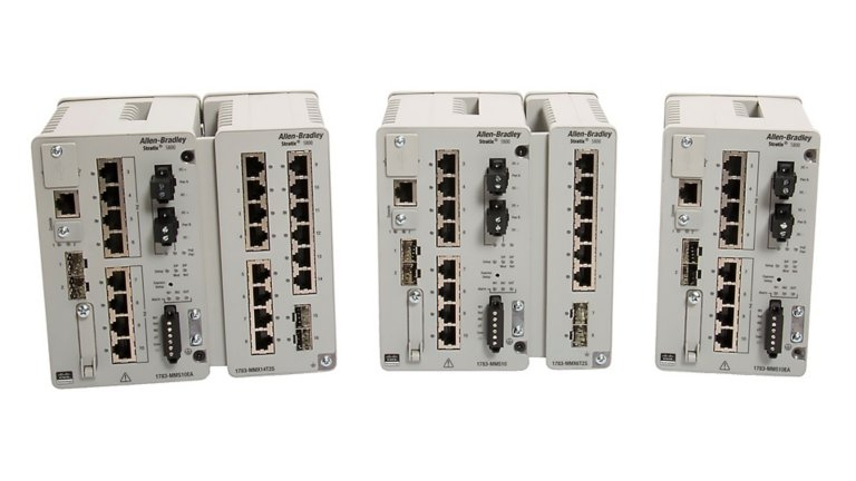 Shows front view of Stratix 5800 switch with expansion module attached for first and second image. The third image shows front view of Stratix 5800 switch