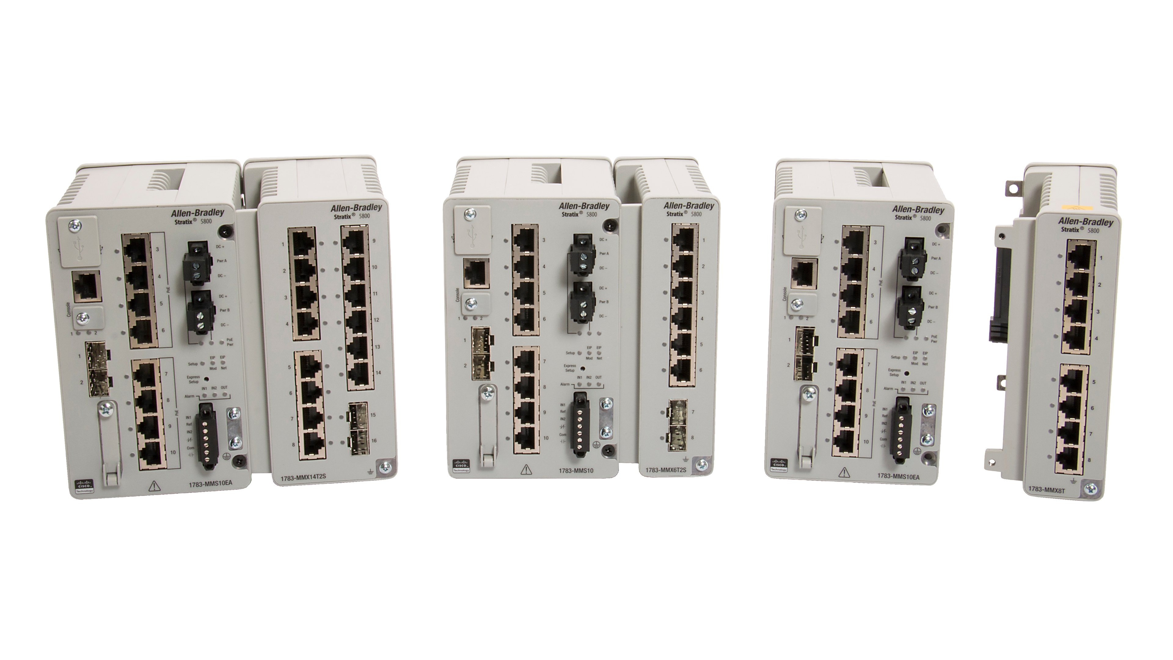 Shows front view of Stratix 5800 switch with expansion module attached for first and second image. The third image shows front view of Stratix 5800 switch separately. The fourth image shows front view of an expansion module separately.