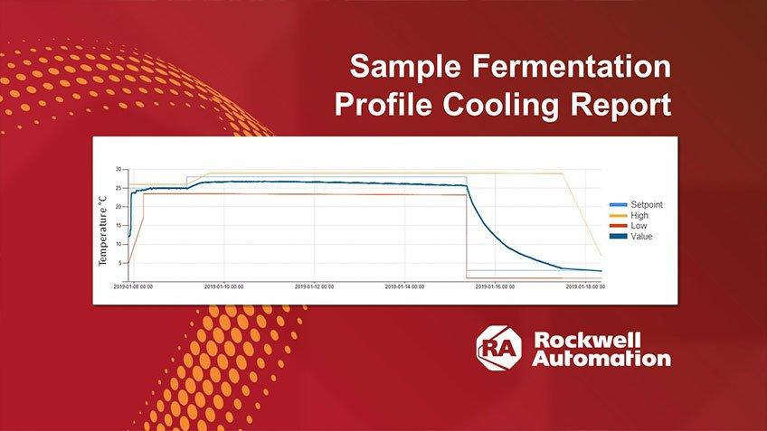 A la izquierda de este gráfico, puede ver el libre aumento del calentamiento tras la introducción de la levadura. La temperatura se mantiene estable en los puntos de ajuste de la duración de la fermentación, tanto en el alto como en el bajo, y se curva hacia abajo cuando se produce el enfriamiento que ralentiza el efecto de la levadura. Si los perfiles de fermentación no son los mismos entre distintos cocimientos, los análisis pueden ayudarle a identificar áreas de mejora. (Hacer clic para aumentar).