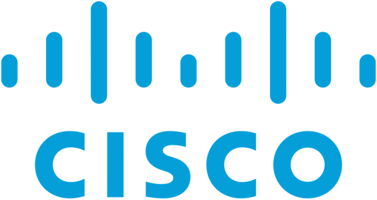 blue cisco text with blue vertical lines above the text