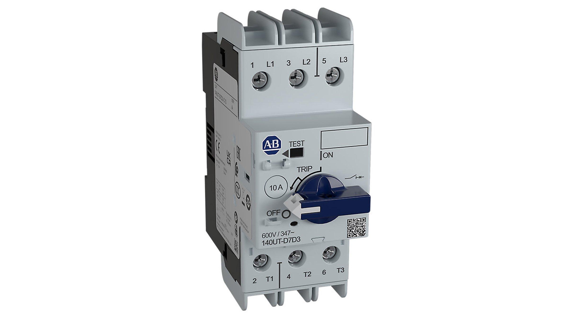 Bulletin 140UT Molded Case Circuit Breakers showing lockable knob and short circuit trip indicator flag