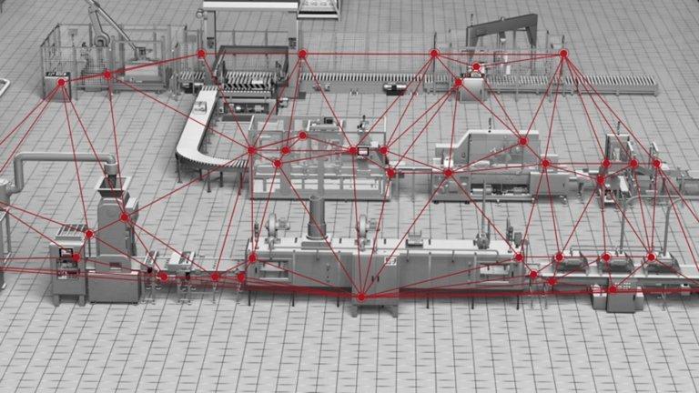 Una línea de producción gris con líneas rojas superpuestas que resalta las conexiones entre los distintos dispositivos inteligentes e ilustra el flujo de datos