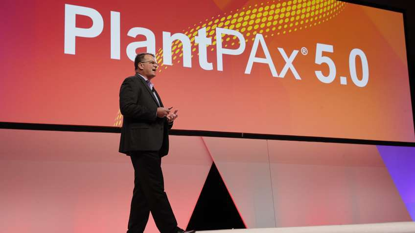 Dave Rapini, PlantPAx business manager, shares details with PSUG attendees on the company's new purpose-built process controllers and PlantPAx v.5 scheduled to launch this summer.