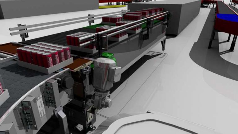 Close-up 3D model of conveyor system moving parts in cartons