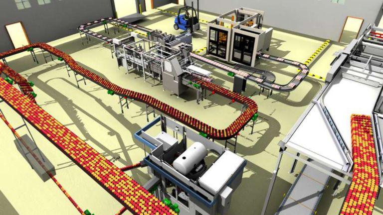 Un modelo 3D de un sistema de transportadores que mueve una serie de productos para mostrar avances mediante la tecnología de emulación