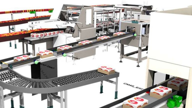 3D model of a conveyor system moving boxes