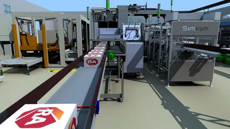 3D model of a conveyor system moving Rockwell Automation packaged boxes