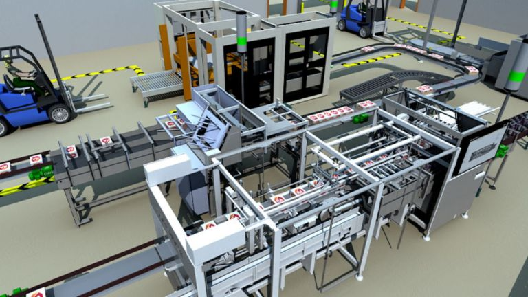 Bird's-eye view of a 3D model of an industrial automation system in action