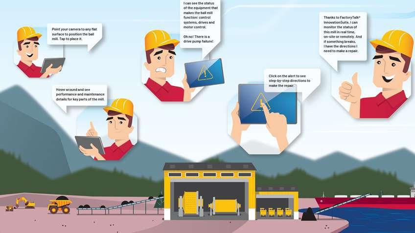 La tecnologia de realidad aumentada puede mejorar drásticamente la visibilidad situacional del operador y el proceso de mantenimiento del equipo. Pruébelo usted mismo con nuestra demostración de molino de bolas.