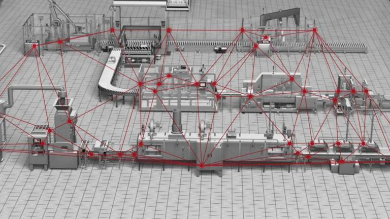 a grey manufacturing line with red lines superimposed, highlighting the connections between the various smart devices and illustrating the flow of data