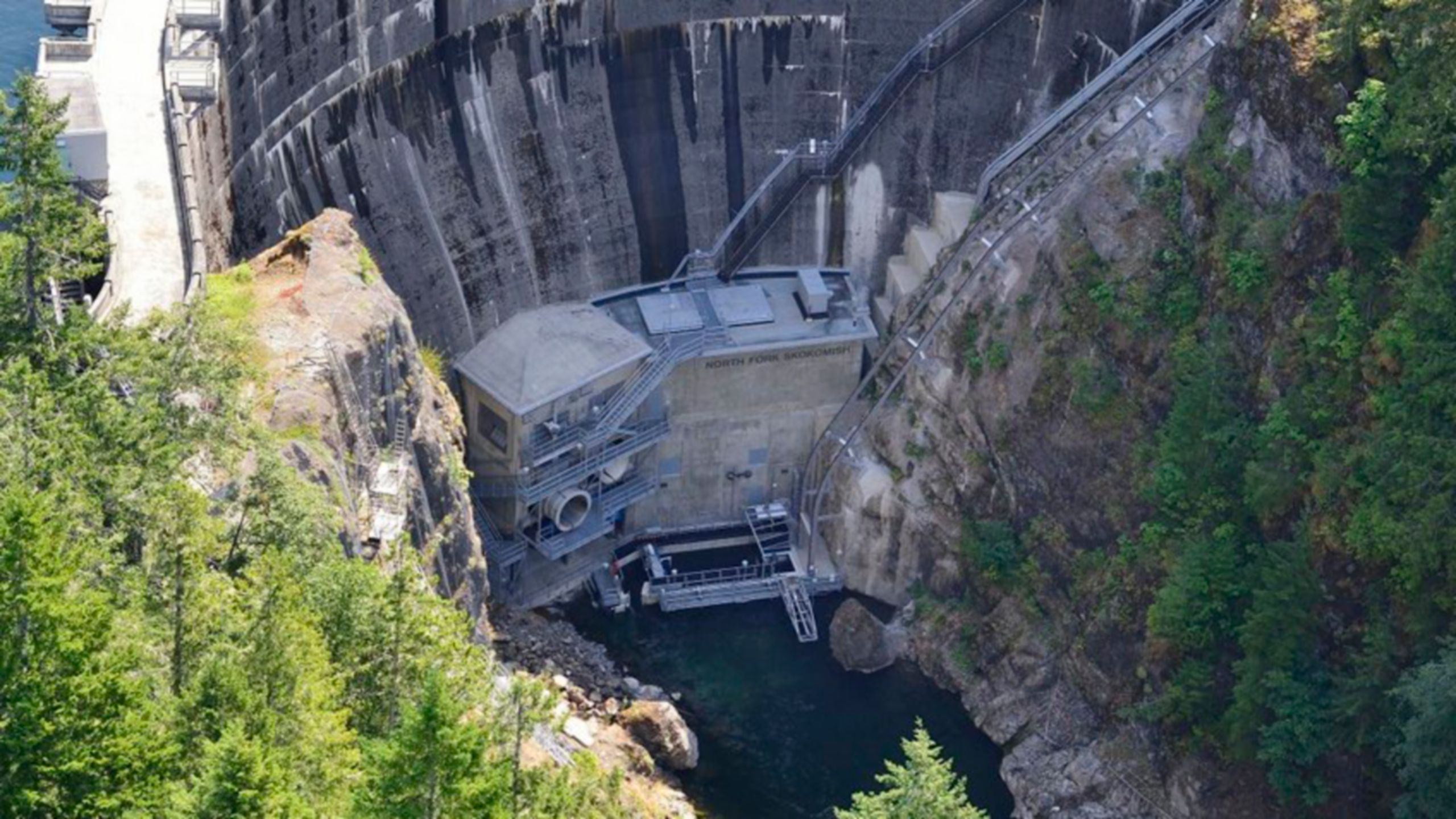 Dam at Cushman Project #2 for Tacoma Public Utilities from World Wind Helicopters AS260B, August 9, 2013